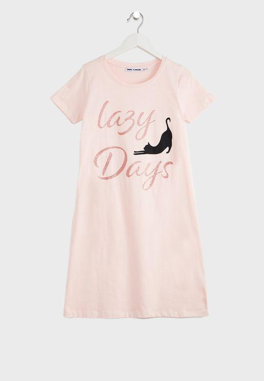فستان بطباعة كتابة للاطفال