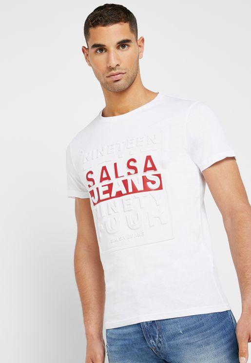 Embossed  Varsity Crew Neck T-Shirt