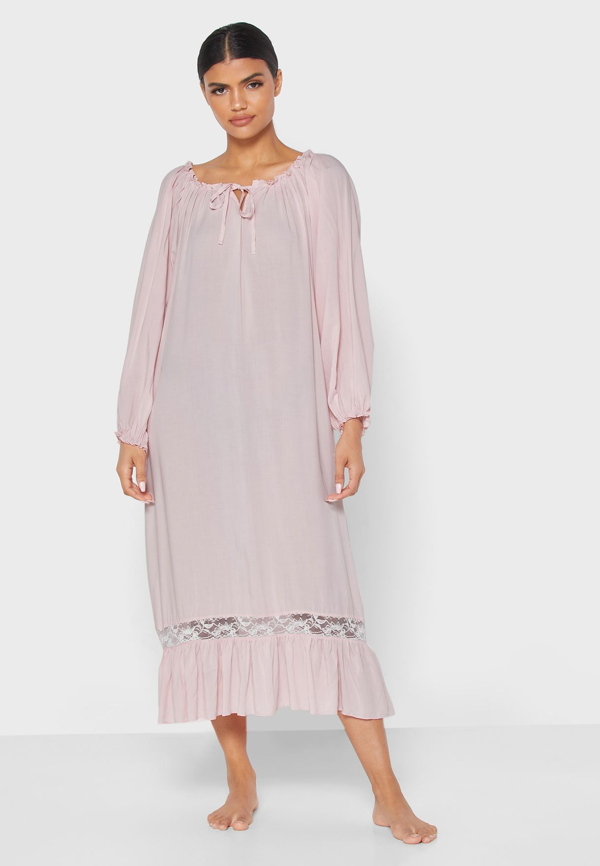 Ruffle Trim Nightdress