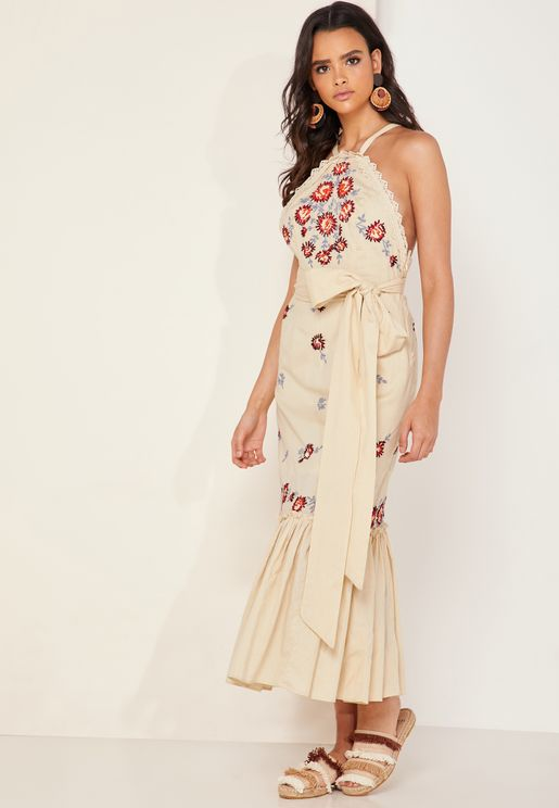 Chrysanthemum Tie Waist Embroidered Maxi Dress