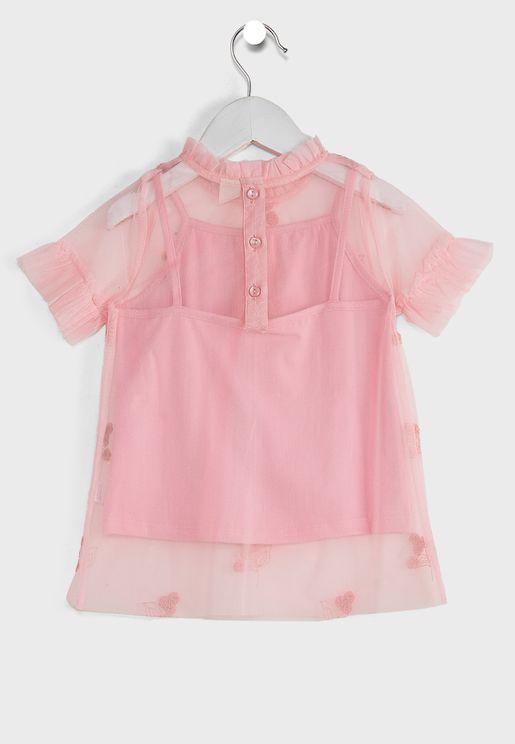 Kids Embroidered Flower Top