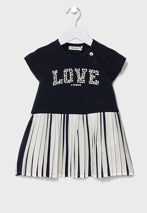 Kids Slogan Glitter Dress