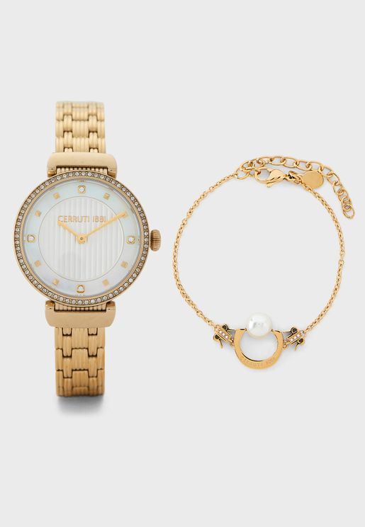 Analog Watch+Pendant Necklace+Bracelet Set