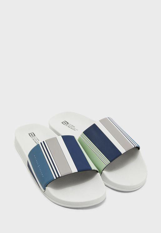 Vertical Stripe Slide Flip Flop