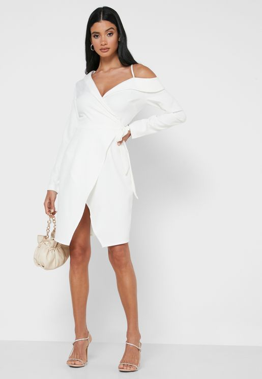 One Cold Shoulder Wrap Front Mini Dress