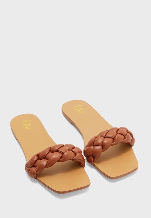 Plaited Square Toe Flat Sandal