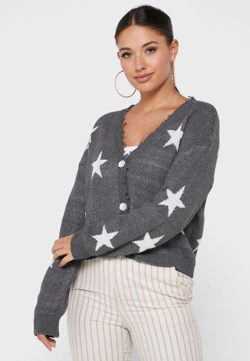 Star Intarsia Cardigan
