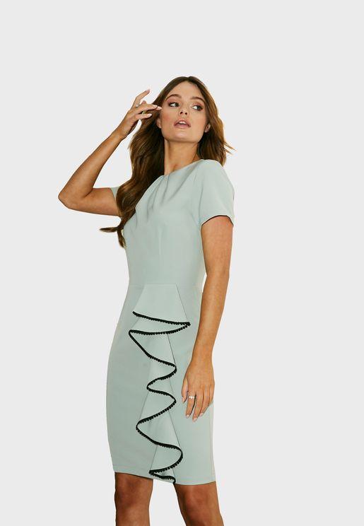 Ruffle Trim Bodycon Dress