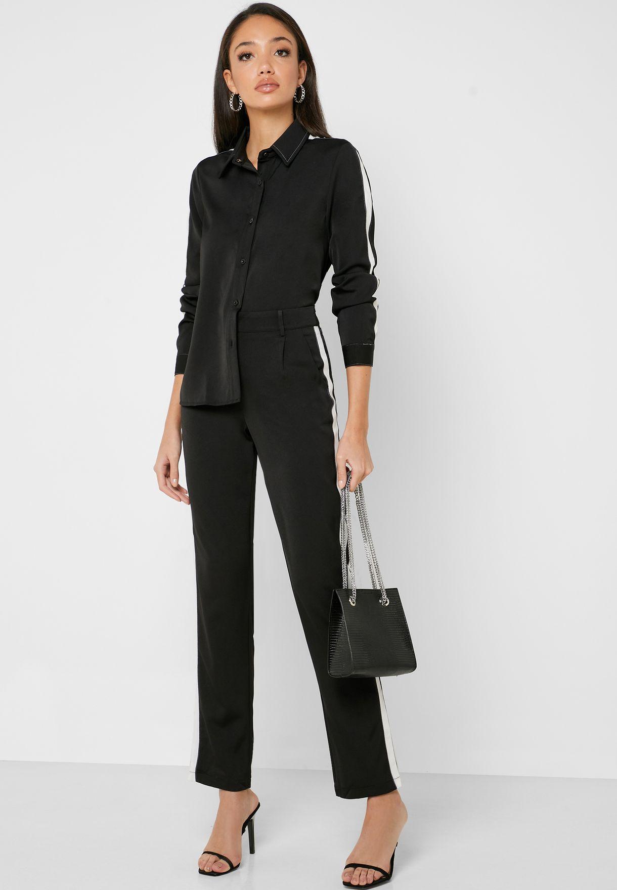 Contrast Side Paneled Pants Set