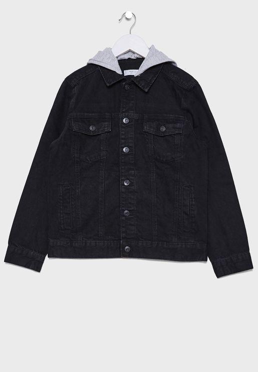 Kids Rinse Hooded Denim Jacket