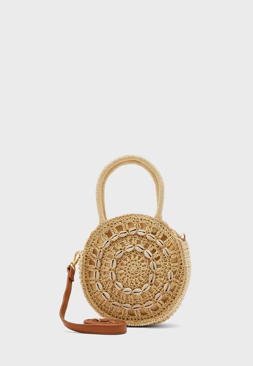 Shell Straw Round Grab Crossbody