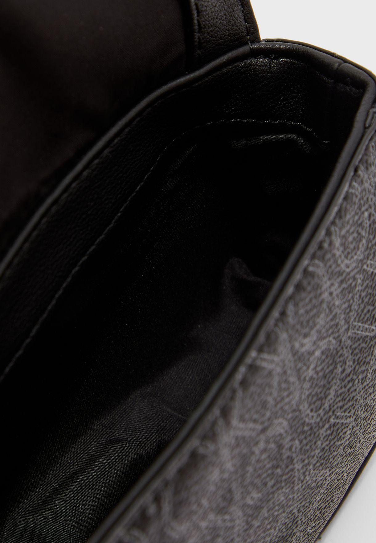 Logo Printed Flap Over Waist bag