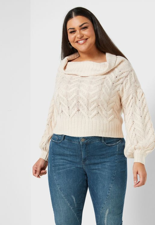 Roll Neck Cable Knit Sweater
