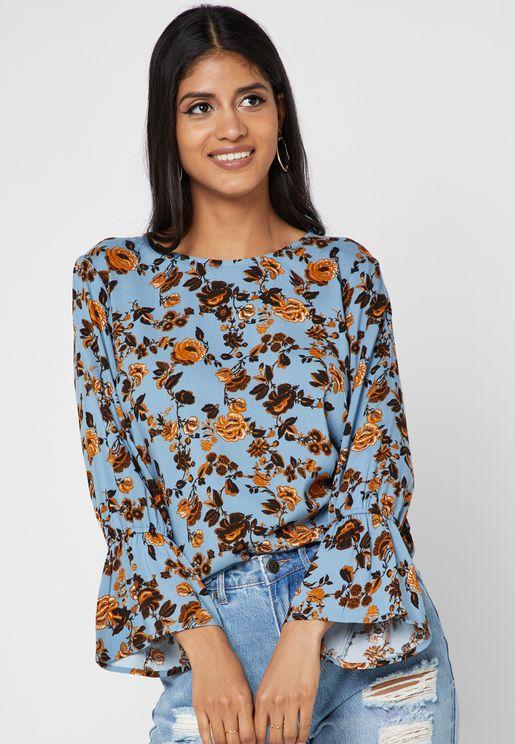 Floral Print Bell Sleeves Top