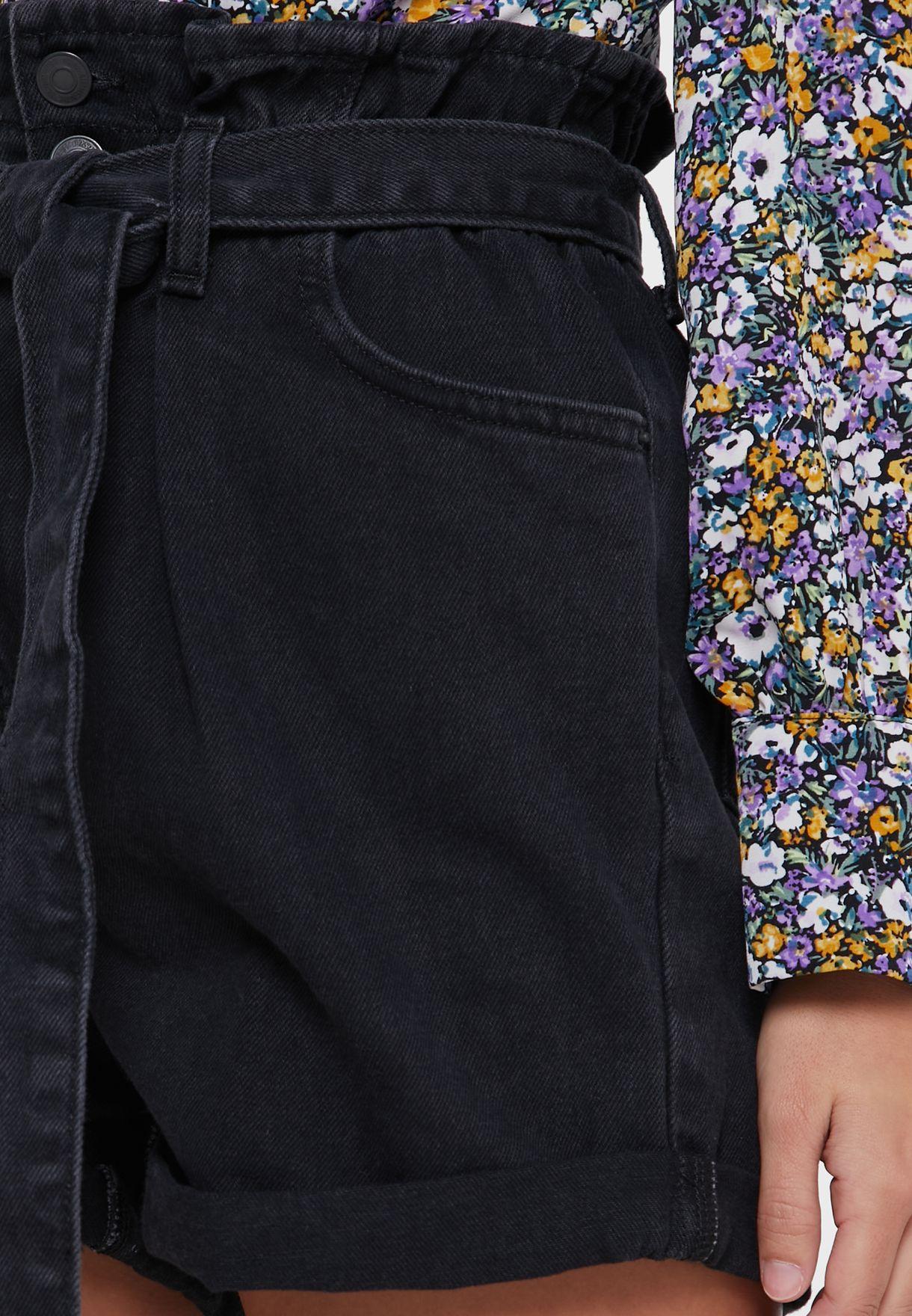 شورت جينز باربطة خصر