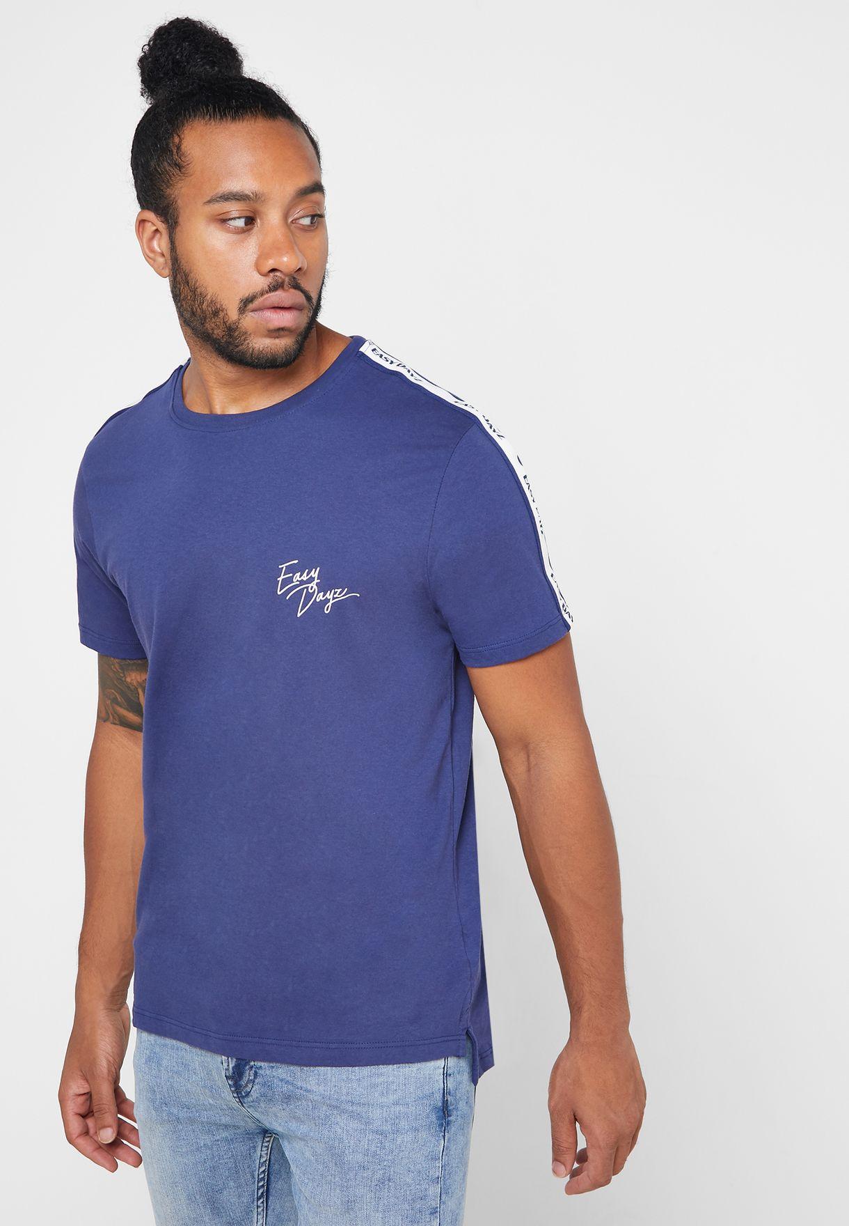 Shoulder Stripe  Crew Neck T-Shirt