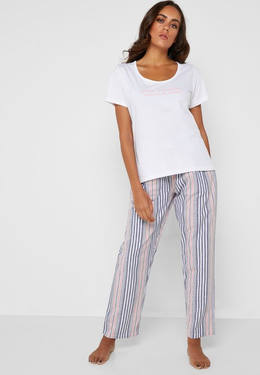Slogan T-Shirt & Striped Pyjama Set