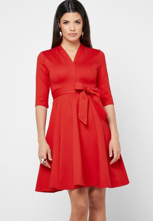 Tie Waist V-Neck Dress