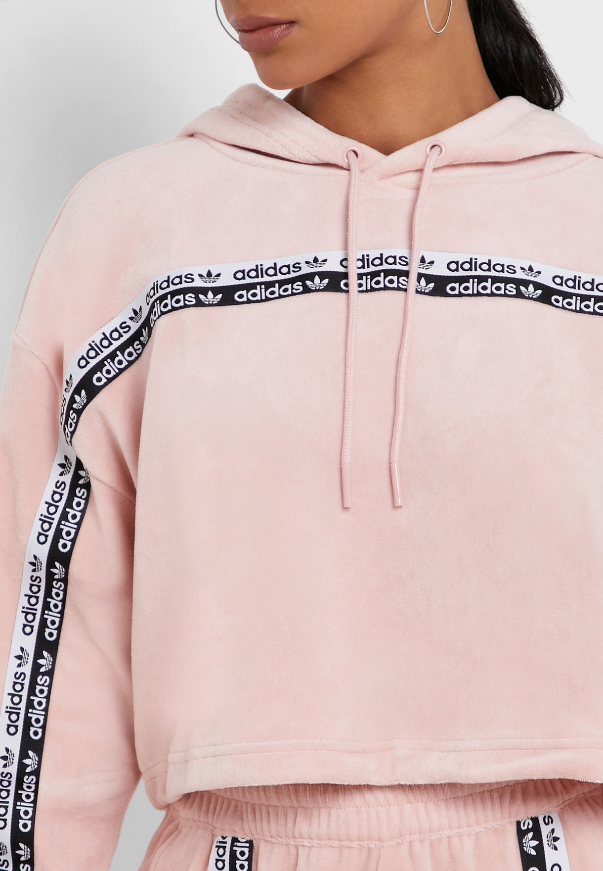 Taped Cropped Hoodie