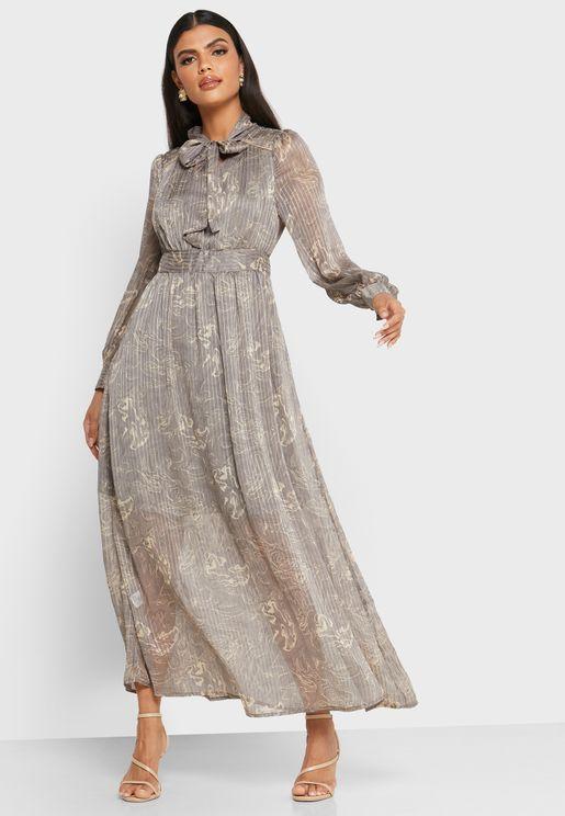 فستان ميدي مطبع بأربطة عنق