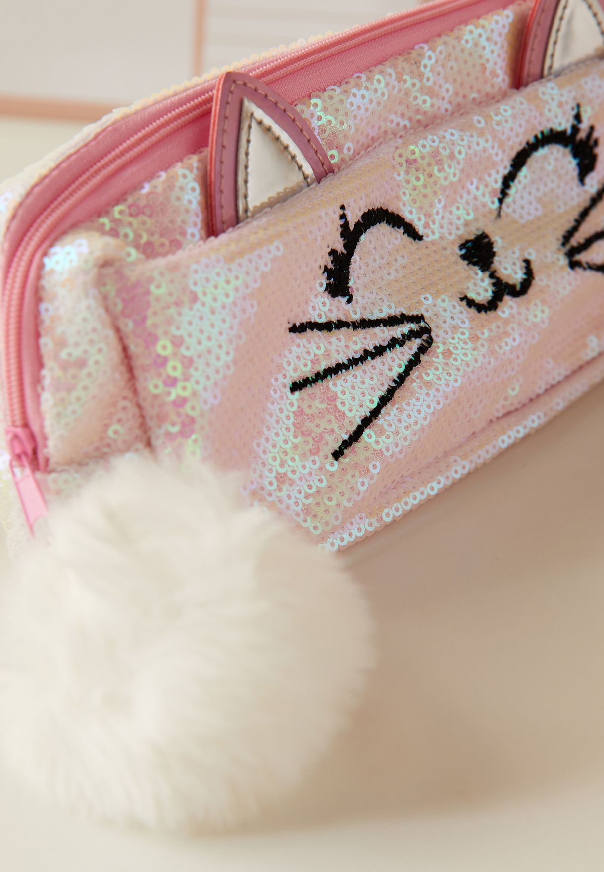 Sequin Cat Pencil Case
