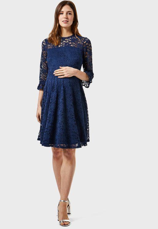 Sheer Lace Flute Sleeve Dress
