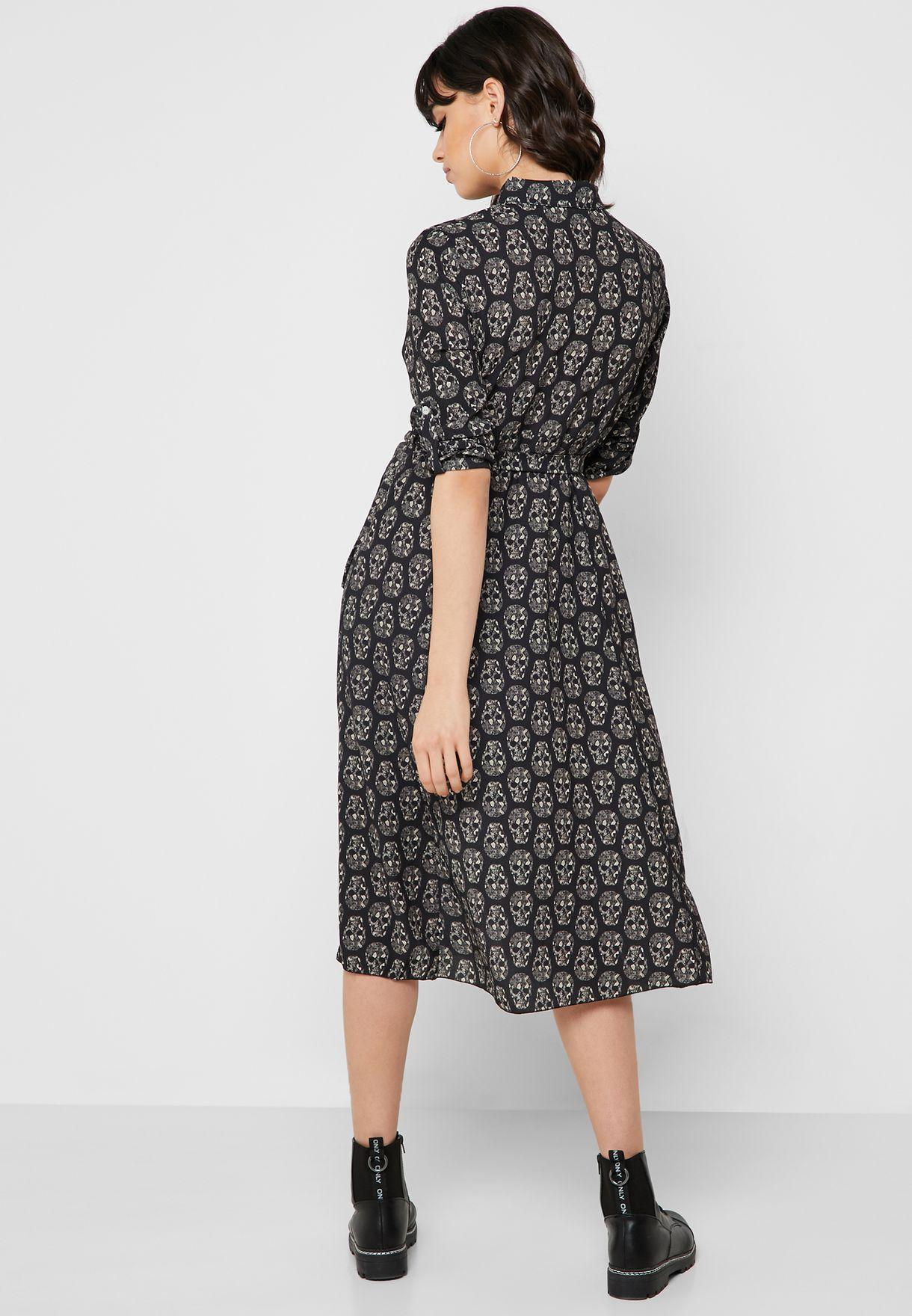 فستان ميدي بنمط قميص مع أربطة وطبعات