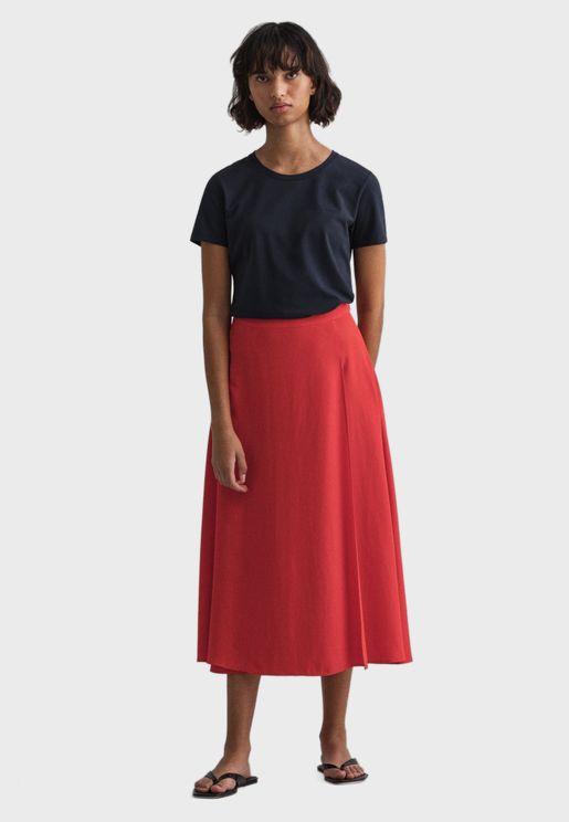 Pleated Midi Wrap Skirt