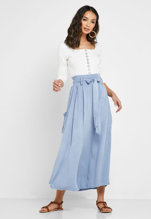 Linen Self Tie Midi Skirt