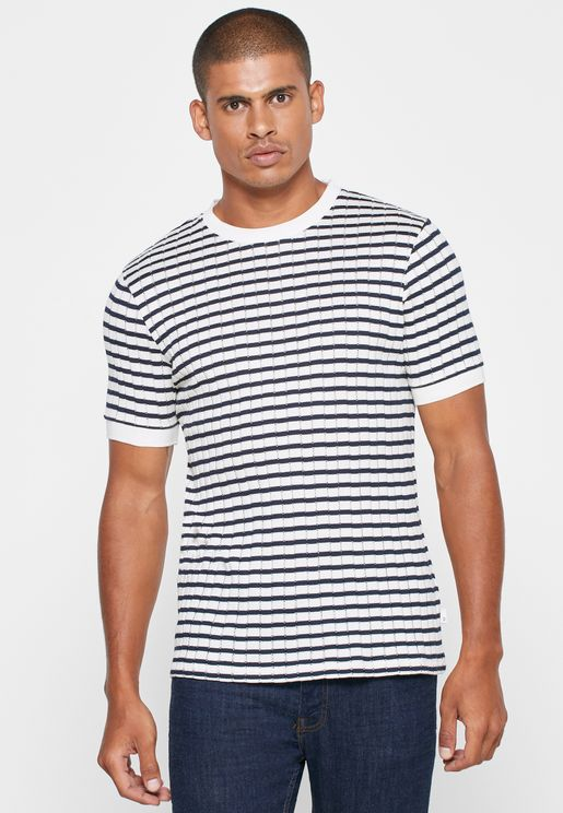 Striped Knitted Crew Neck T-Shirt