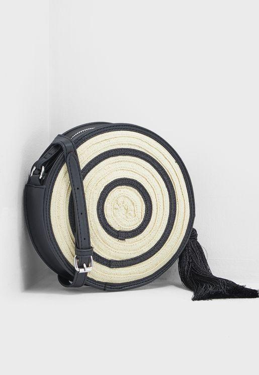 Straw Round Crossbody Bag