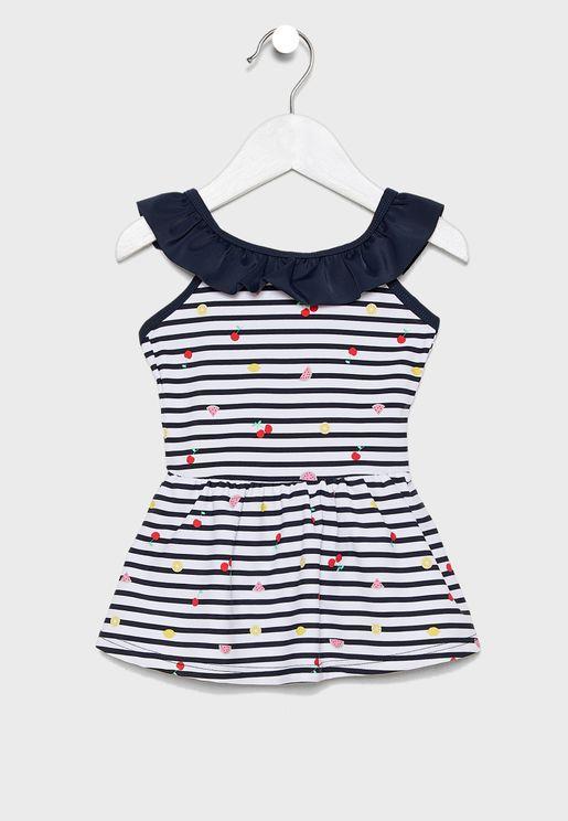 Kids Ruffle Trim Printed Swim Dress