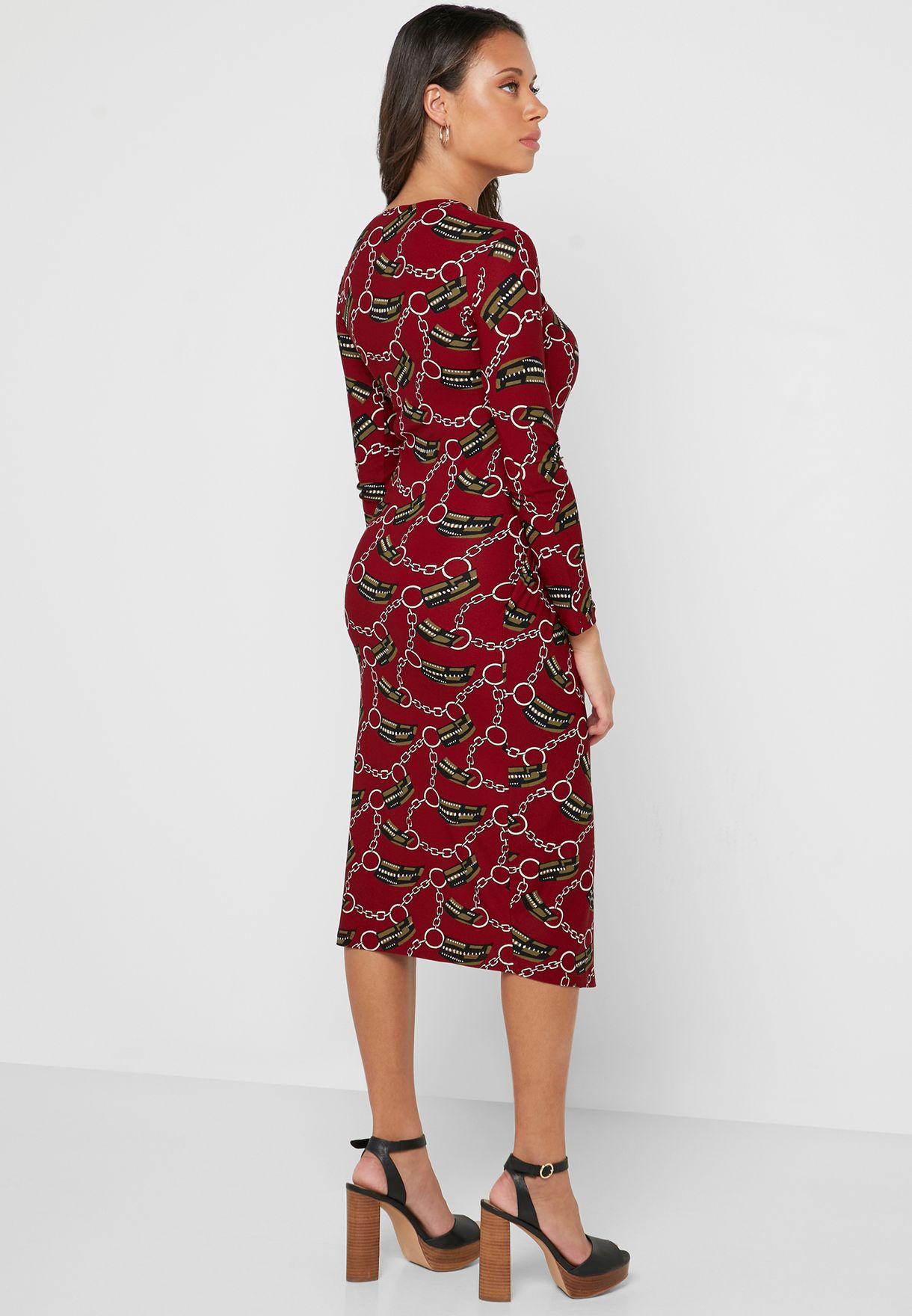 فستان ميدي بعقدة جانبية