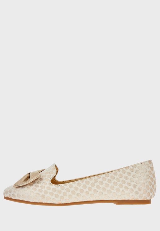 Kids Jacquard Bow Slip On