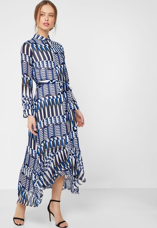 Ruffle Detail Printed Belted Maxi Shirt Dress