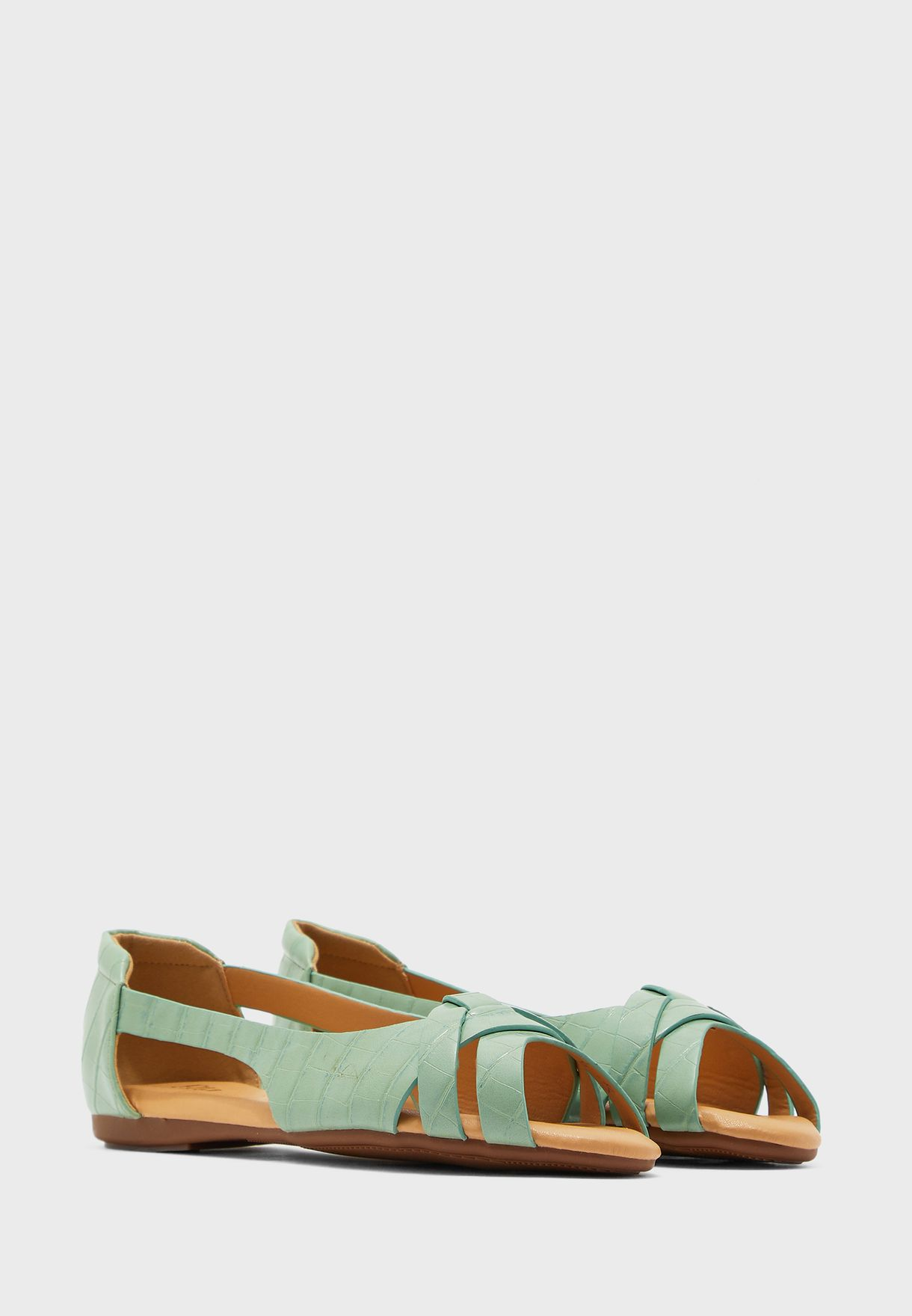 Cutout Detail Peeptoe Flat Shoes