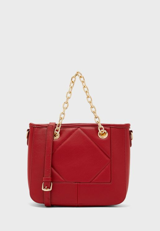Chain Handle Quilted Tote Bag