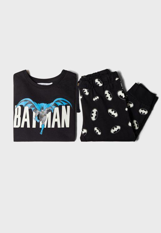 Kids Batman T-Shirt + Pyjama Set