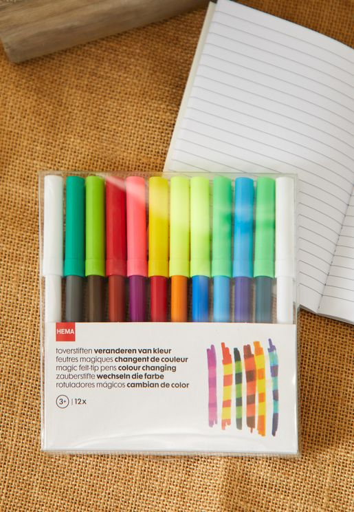 Set Of 12 Colour Felt Pens