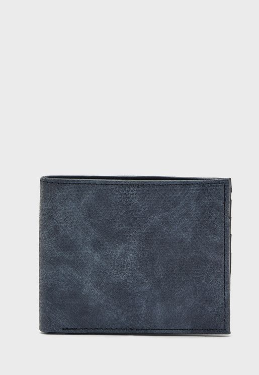 Textured Leatherette Bi Fold Wallet