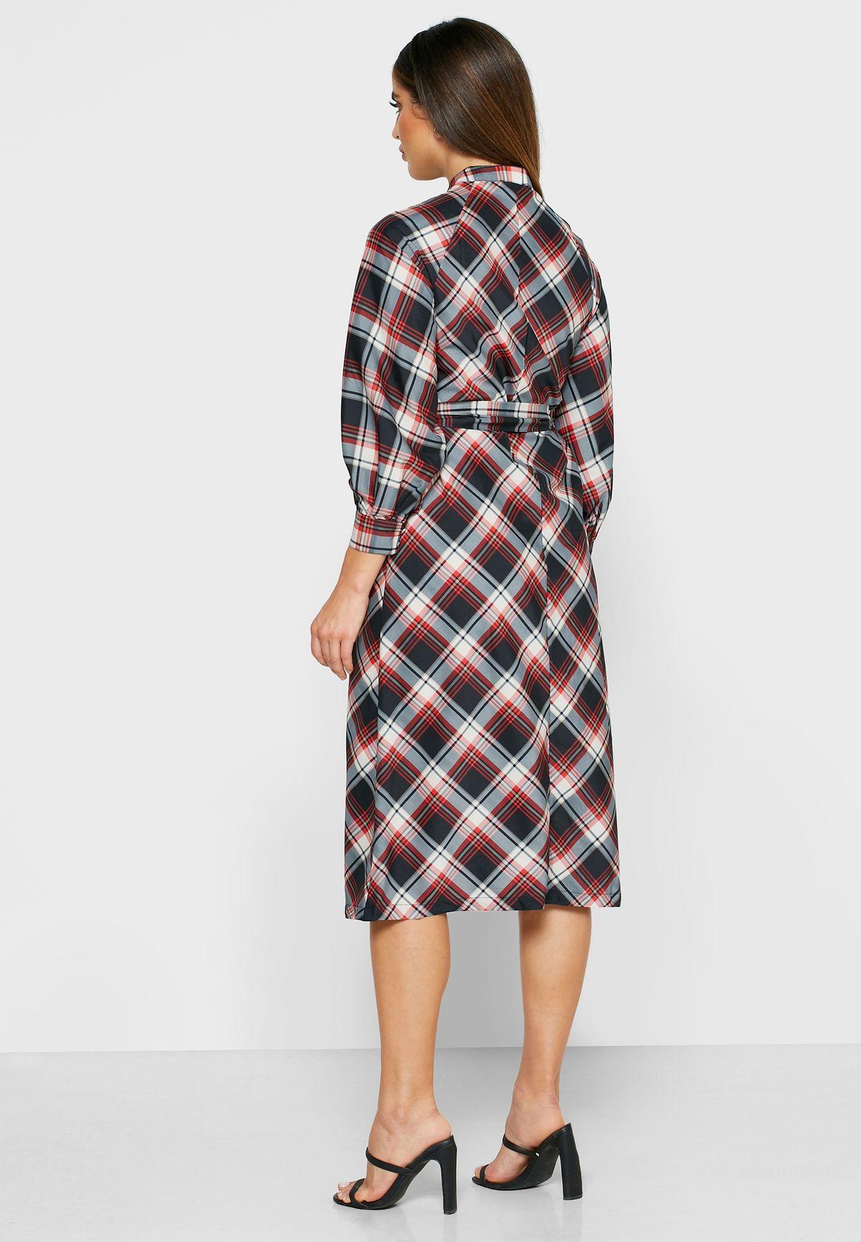 فستان ميدي بطبعة مربعات
