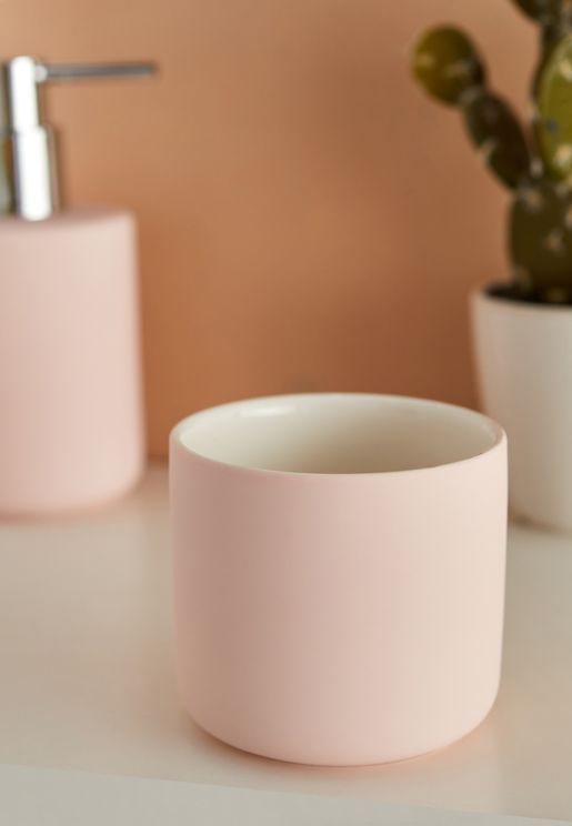 Pink Ceramic Soap Container