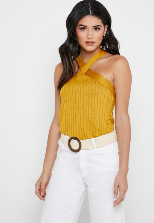 Cross Over Ribbed Top