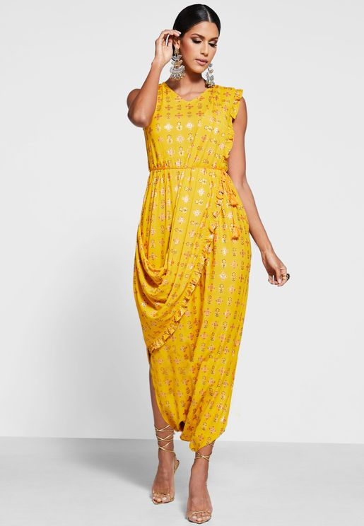 Mustard Floral Jumpsuit with Attached Dupatta