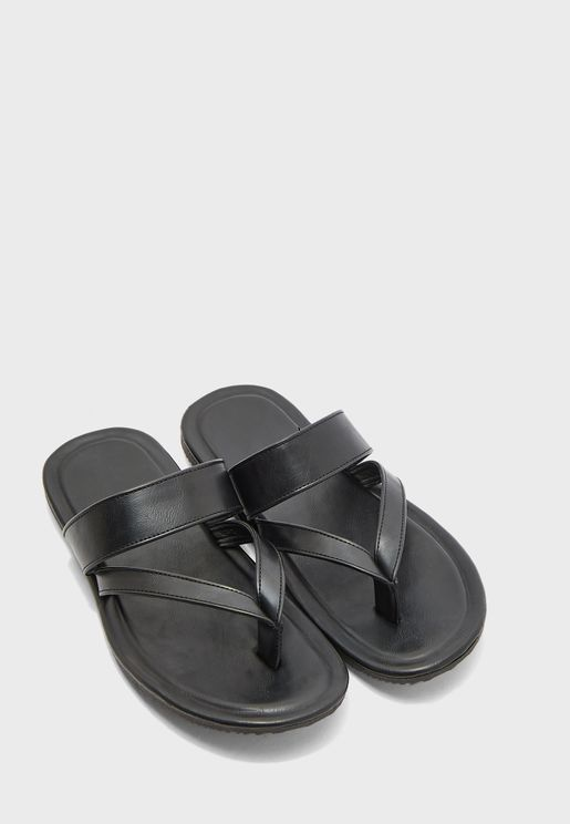 Thong Faux Leather Sandals