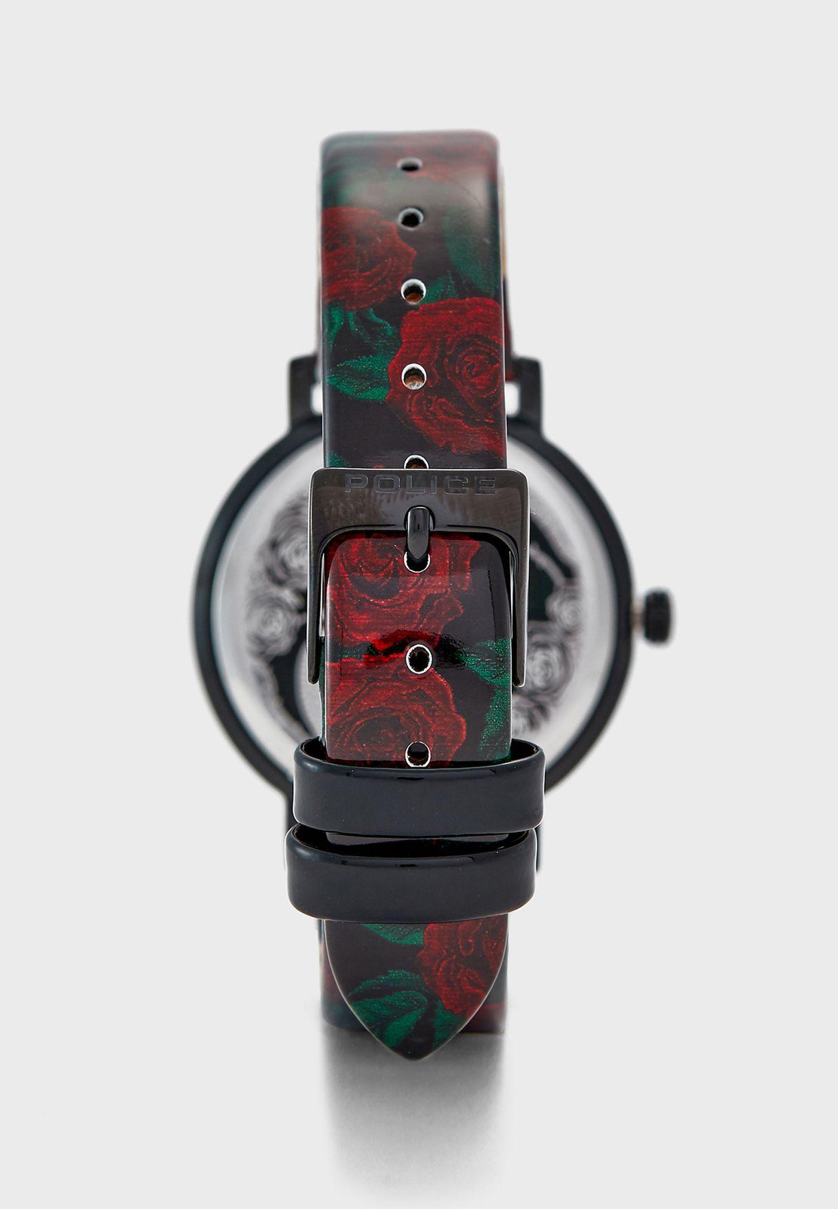 ساعة جلد اصلي بطباعة زهور