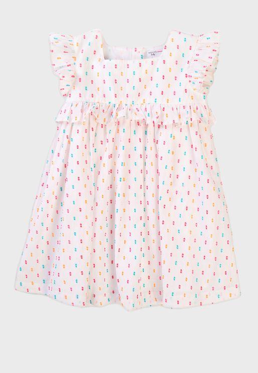 Infant Dobby Print Dress