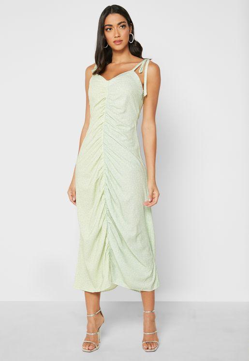 Cami Mixed Print Ruched Front Midi Dress