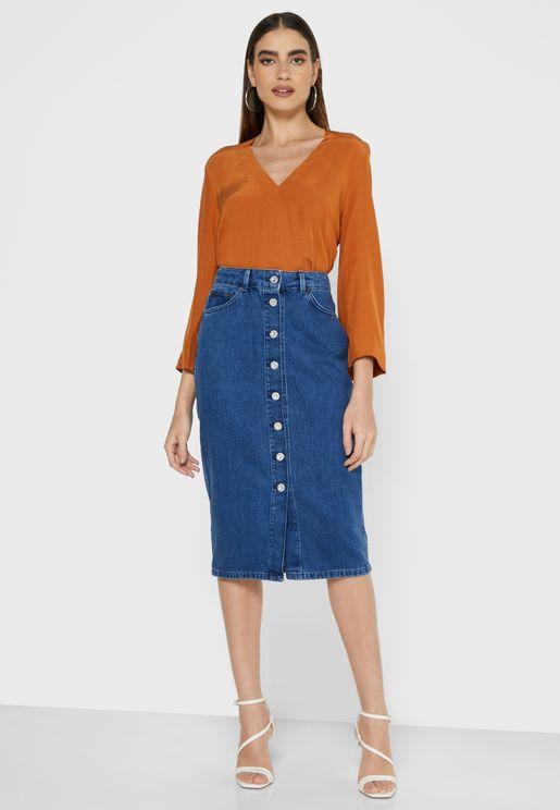 Reo Button Down Denim Skirt