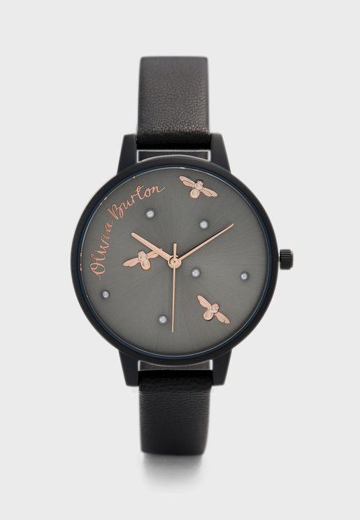 Matte Leather Strap Analog Watch